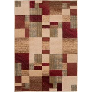Woven Grapeland Geometric Patches Plush Rug