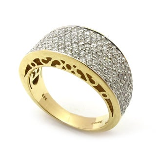 Sonia Bitton 14k Yellow Gold 1 1/5ct TDW Designer Pave Diamond Ring (G-H, SI1-SI2)