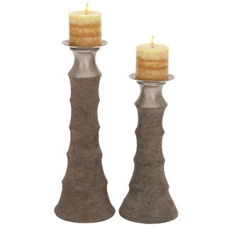 Del Mar Solid Ceramic Pillar Candle Holders (Set of 2)