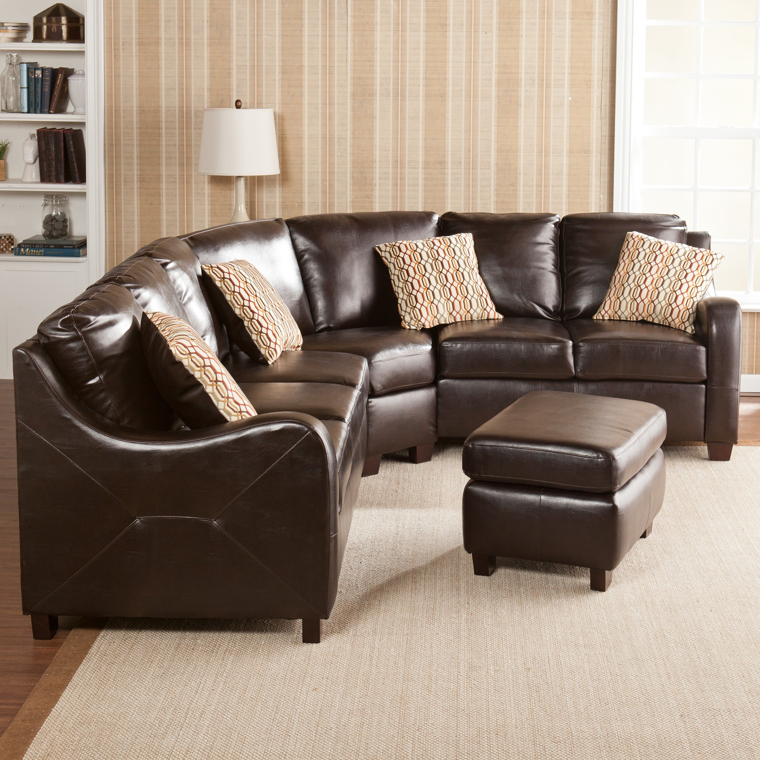 Beautiful Sofa Sets : Beautiful Brown Sectional Sofa Set Couch Loveseat Ottoman Living Room ...