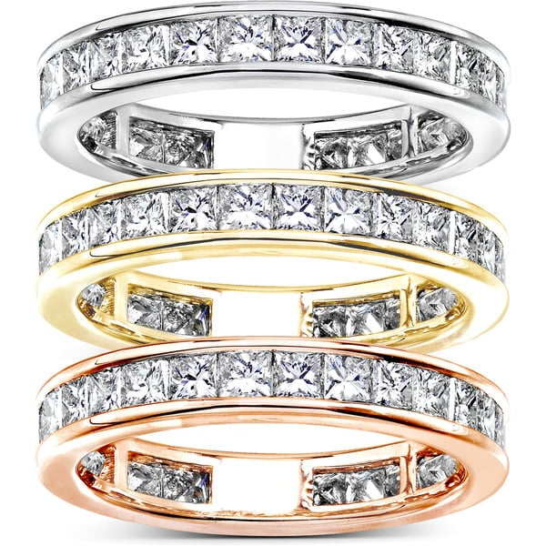 Annello 14k Gold 2ct TDW Princess Diamond Eternity Ring (G-H, SI1-SI2)