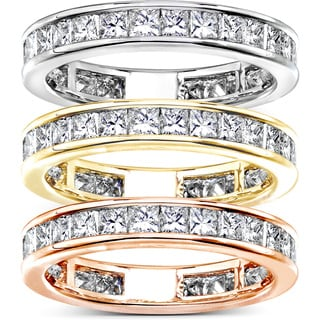 Annello 14k Gold 2ct TDW Princess Diamond Eternity Ring (G-H, SI1-SI2)