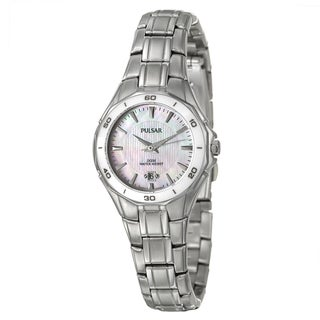 Pulsar Women's White-Dial Stainless-Steel Dress Sport Watch