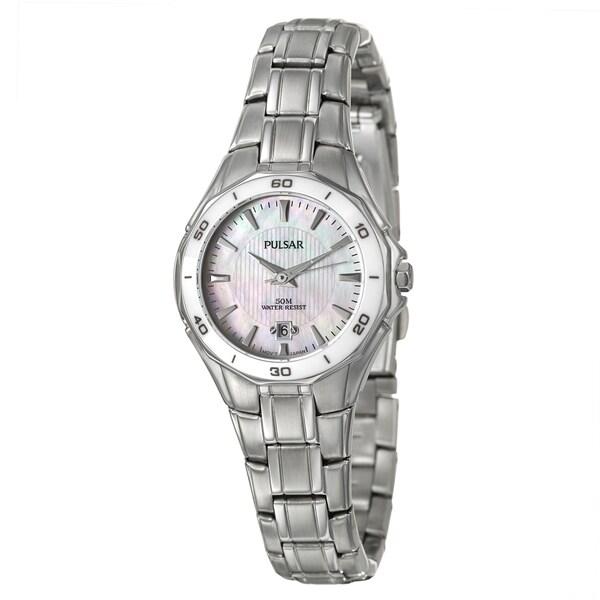 Pulsar Women's White-Dial Stainless-Steel Dress Sport Watch