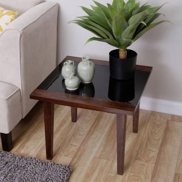 Draper Wood/ Glass End Table