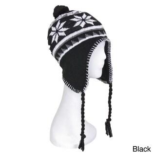 Snowflake Knit Pom-pom Ski Hat