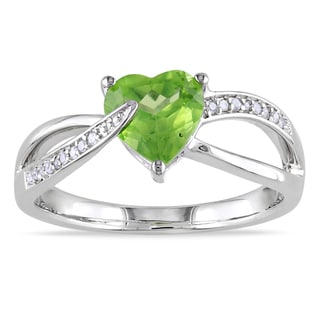 Miadora Sterling Silver Peridot and Diamond Heart Ring (G-H, I1-I2)
