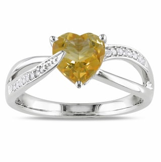 Miadora Sterling Silver Citrine and Diamond Heart Ring (H-I, I2-I3)