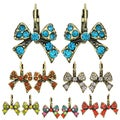Kate Marie Goldtone Acrylic and Crystal Bow Earrings