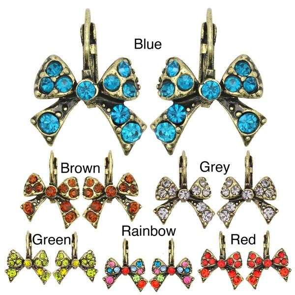 Kate Marie Goldtone Acrylic and Crystal Bow Earrings