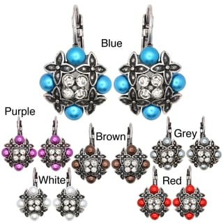 Kate Marie Silvertone Acrylic and Crystal Flower Earrings