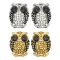 Kate Marie Goldtone or Silvertone Black Rhinestone Owl Design Earrings