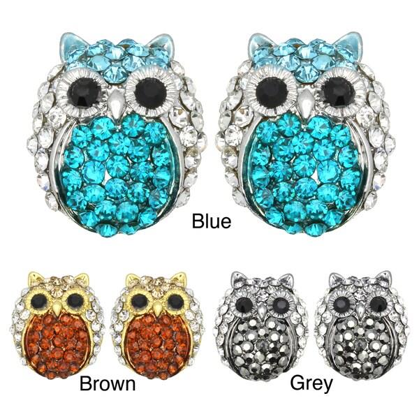 Kate Marie Goldtone or Silvertone Acrylic and Rhinestone Owl Design Earrings
