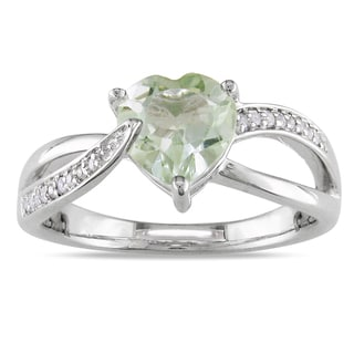 Miadora Sterling Silver Green Amethyst and Diamond Heart Ring (H-I, I2-I3)