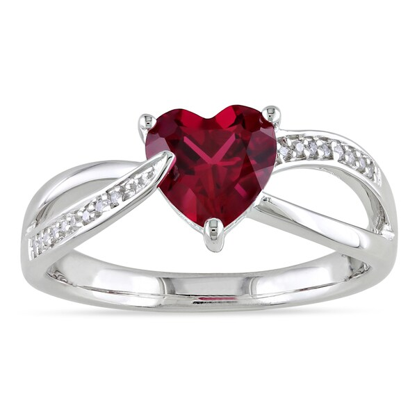 Miadora Sterling Silver Created Ruby and Diamond Heart Ring (H-I, I2-I3)