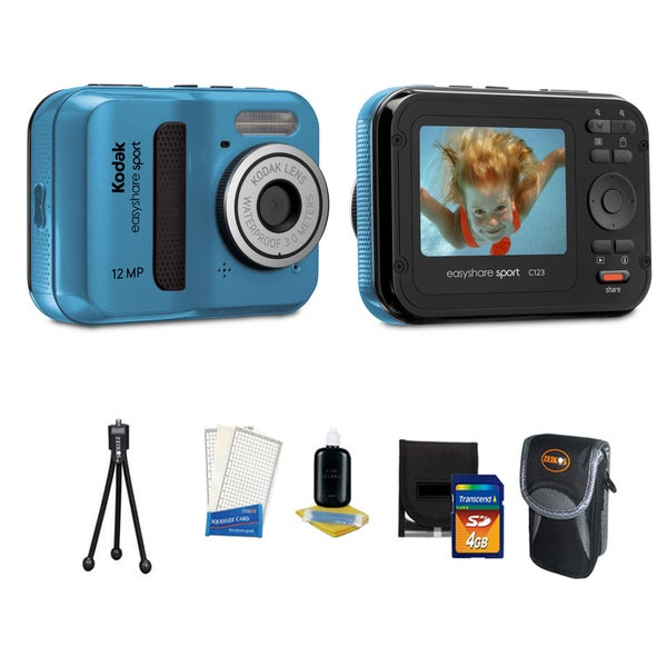 Kodak Easyshare Sport C123 Waterproof 12MP Blue Digital Camera with Deluxe Bonus Kit