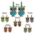 Kate Marie Silvertone Acrylic and Crystal Owl Design Earrings