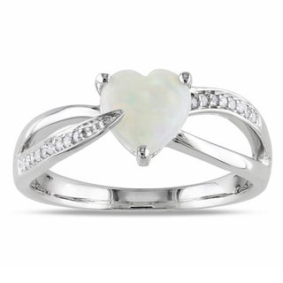 Miadora Sterling Silver Opal and Diamond Heart Ring (H-I, I2-I3)
