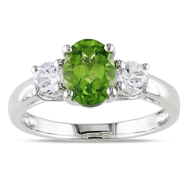 M by Miadora Sterling Silver Green Peridot and Created White Sapphire Ring