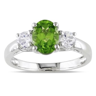 Miadora Sterling Silver Green Peridot and Created White Sapphire Ring