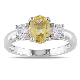 Miadora Sterling Silver Oval-cut Citrine and Created White Sapphire Ring