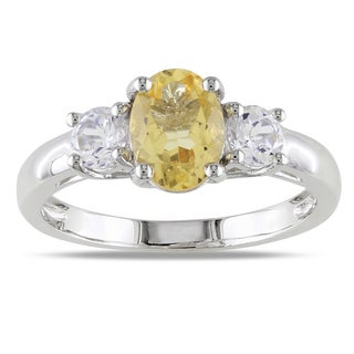 M by Miadora Sterling Silver Oval-cut Citrine and Created White Sapphire Ring