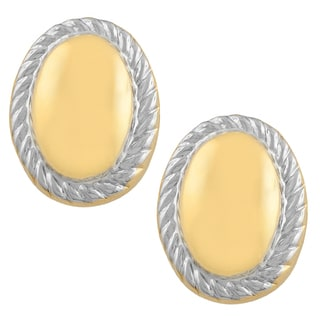 Fremada 14kTwo-tone Gold Rimmed Oval Stud Earrings