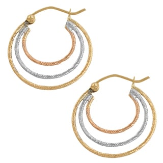 Fremada 14k Tricolor Gold Diamond Cut Graduated Triple Hoop Earrings