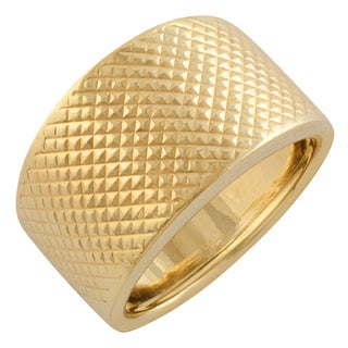 Fremada 10 Karat Yellow Gold Diamond Cut Bold Ring (size 7)