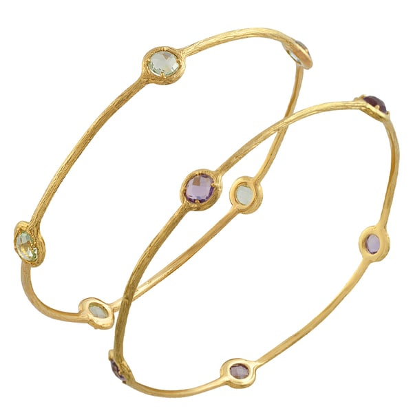 Fremada 14 Karat Yellow Gold Pink, Green Amethyst Bangle Bracelet