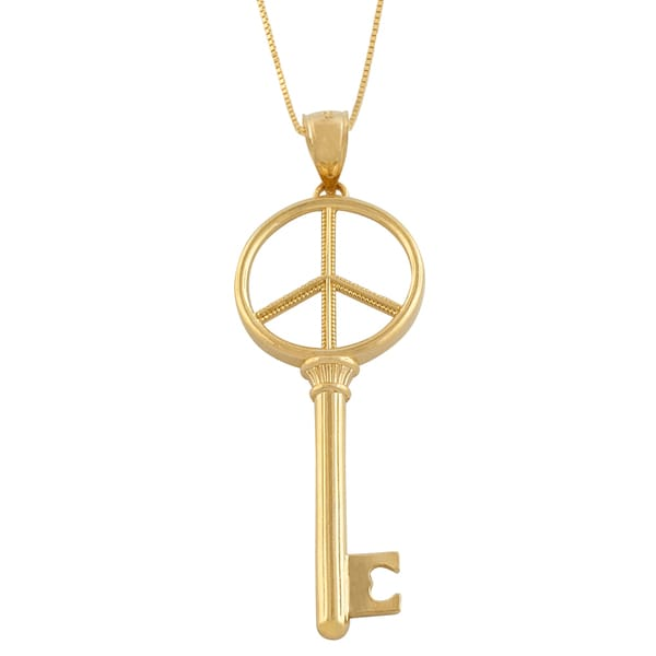 Fremada 14 Karat Yellow Gold Peace Key Pendant Necklace