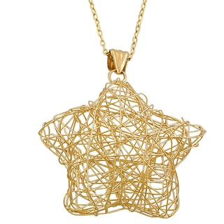 Fremada 14k Yellow Gold Wired Star Adjustable Necklace