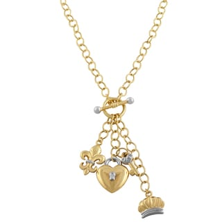 Fremada 14k Two-tone Gold Heart and Key, Crown, Fleur De Lis Toggle Necklace