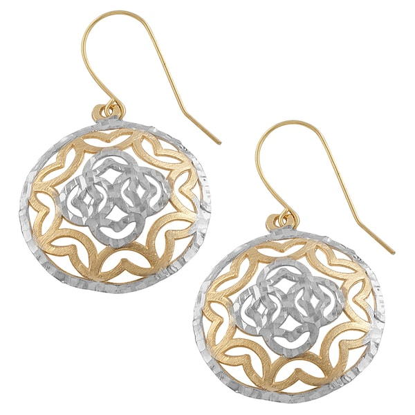 Fremada 14k Two-tone Gold Filigree Domed Disc Dangle Earrings