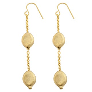 Fremada 14k Yellow Gold Matte Bean Dangle Earrings