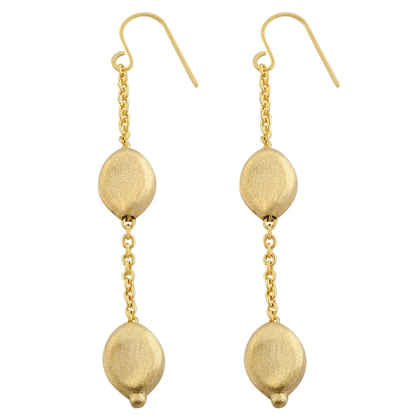 Fremada 14k Yellow Gold Matte Bean Dangle Earrings image