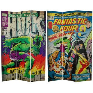 6-foot Tall Double Sided Fantastic Four/The Incredible Hulk Canvas Room Divider