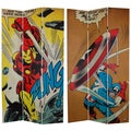 7-Foot Tall Double Sided Captain America/Iron Man Canvas Room Divider