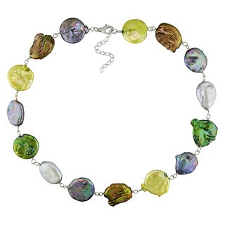 M by Miadora Multi-color Cultured Freshwater Pearl Necklace with Silver Lobster Clasp