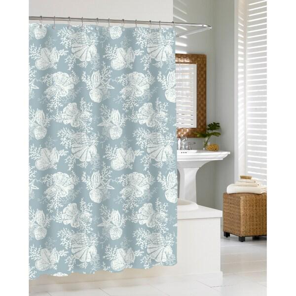 Coastal Seashells Seamist Shower Curtain