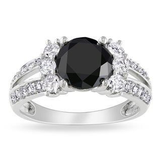 Miadora 14k White Gold 2 5/8ct TDW Black and White Diamond Ring (G-H, I1-I2)