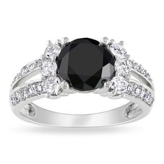 Miadora 14k Gold 2 5/8ct TDW Black and White Diamond Ring (G-H, I1-I2)
