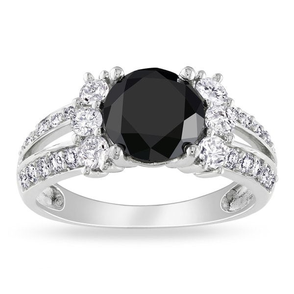 Miadora Signature Collection 14k Gold 2 5/8ct TDW Black and White Diamond Engagement Ring (G-H, I1-I2)
