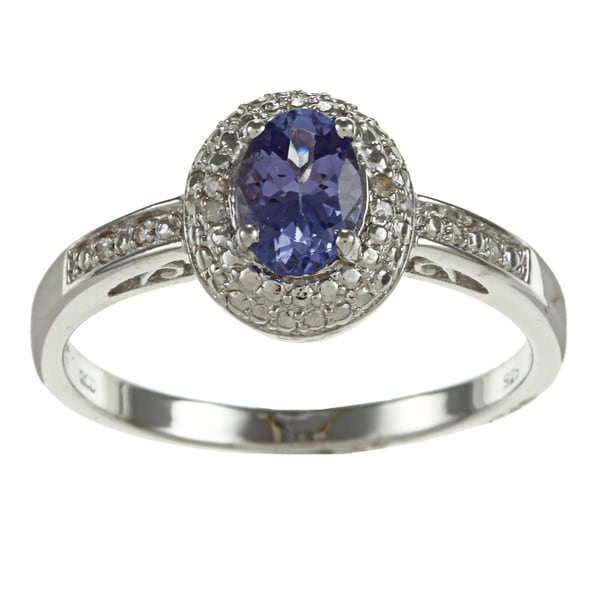 Sterling Silver Tanzanite and Diamond Accent Ring