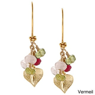 Charming Life Vermeil Gemstones and Leaf Earrings