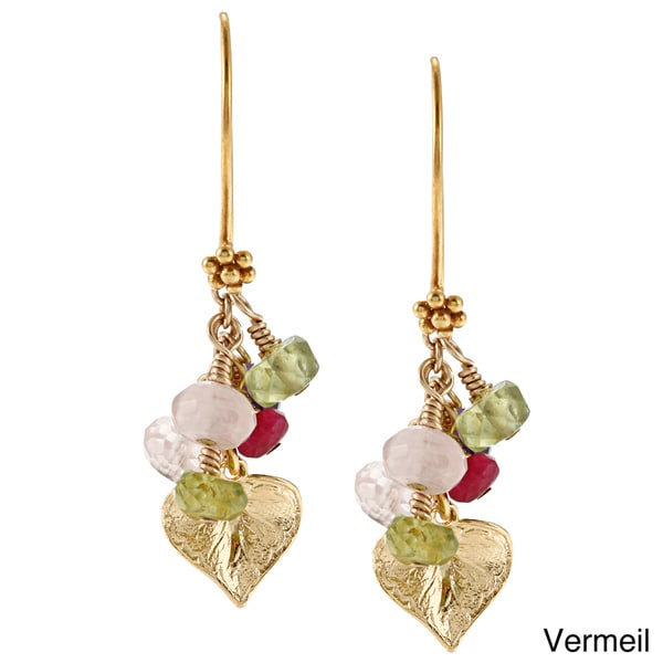 Charming Life Vermeil Leaf with Peridot and Rose Quartz Earrings