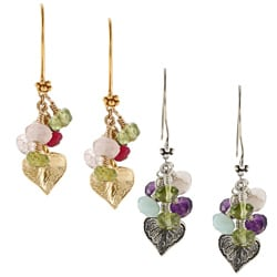 Charming Life Gold over Silver Multi-gemstone Leaf Earrings