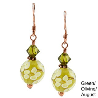 Charming Life Copper Hand-wrapped Art Glass Flower Design Earrings