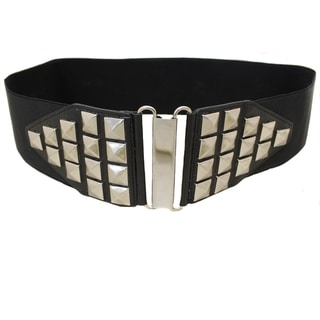 Women's Black Studded High Waist Stretch Belt