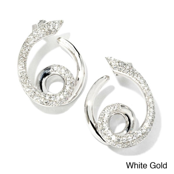 Sonia Bitton 18k Gold 1 1/5ct TDW Designer Diamond Swirl Earrings (G-H, SI1-SI2)